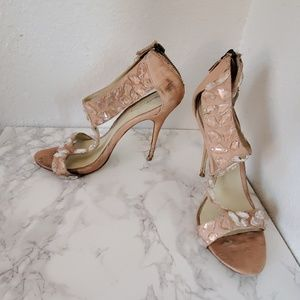 Elizabeth and James pink jeweled t-strap stiletto